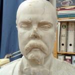Detalle del rostro durante la restauración.