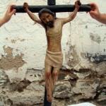 Estado del Cristo antes de la restauración.